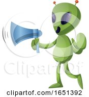 Green Extraterrestrial Alien Using A Megaphone by Morphart Creations