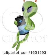 Green Extraterrestrial Alien Holding A Battery by Morphart Creations