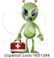 Green Extraterrestrial Alien With A First Aid Kit by Morphart Creations