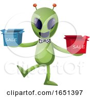 Green Extraterrestrial Alien With Sale Boxes by Morphart Creations