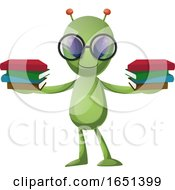 Green Extraterrestrial Alien Holding Books by Morphart Creations
