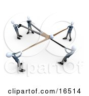 Circle Of Businesmen Pulling On Parts Of A Customer And Stretching Him Out While Competing For Him
