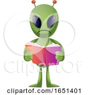 Green Extraterrestrial Alien Reading A Book by Morphart Creations