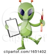 Green Extraterrestrial Alien Holding A Clipboard by Morphart Creations