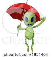 Green Extraterrestrial Alien With An Umbrella by Morphart Creations
