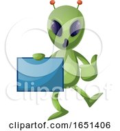 Green Extraterrestrial Alien Holding A Panel by Morphart Creations