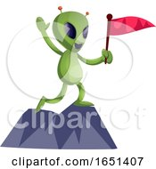 Green Extraterrestrial Alien With A Flag On A Mountain Top by Morphart Creations