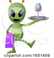 Green Extraterrestrial Alien Serving Wine by Morphart Creations