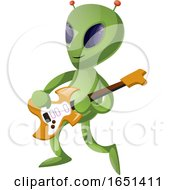 Poster, Art Print Of Green Extraterrestrial Alien Playing A Guitar