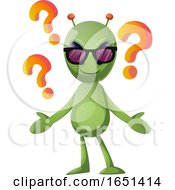 Green Extraterrestrial Alien With Question Marks by Morphart Creations