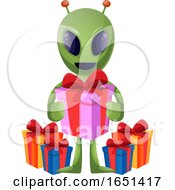 Green Extraterrestrial Alien Holding A Gift by Morphart Creations