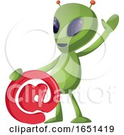Green Extraterrestrial Alien With An Email Symbol by Morphart Creations