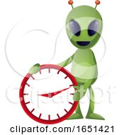 Green Extraterrestrial Alien With A Clock by Morphart Creations