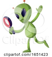Green Extraterrestrial Alien Using A Magnifying Glass by Morphart Creations