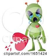 Poster, Art Print Of Green Extraterrestrial Alien With A Broken Heart