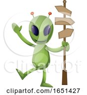 Green Extraterrestrial Alien With A Street Sign by Morphart Creations