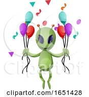Green Extraterrestrial Alien With Party Balloons by Morphart Creations