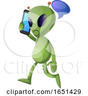 Green Extraterrestrial Alien Talking On A Cell Phone by Morphart Creations