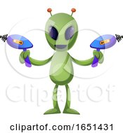 Green Extraterrestrial Alien Holding Ray Guns
