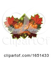 Happy Thanksgiving Greeting Over Pumpkins And Leaves