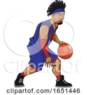 Basketball Player In Purple Jersey Dribbling by Morphart Creations