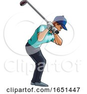Golf Player Swings With A Golf Club