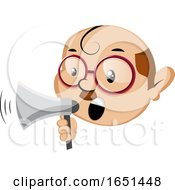 Nerdy Man Using A Megaphone