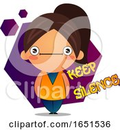 Brunette Girl With Keep Silence Text