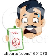 Man With A Mustache Holding A Failed Score