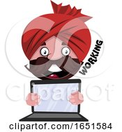 Man Wearing A Turban Holding A Laptop