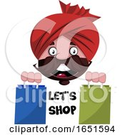 Man Wearing A Turban Saying Lets Shop by Morphart Creations