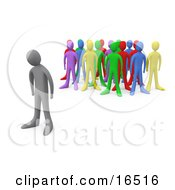 Sad Gray Person Standing Alone Near A Crowd Of Different Colored People Symbolizing Depression Bullying Standing Out From The Crowd Etc Clipart Illustration Graphic