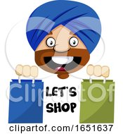 Muslim Guy With Lets Shop Text And Bags by Morphart Creations