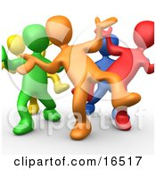 Five Different Colored And Diverse People Dancing And Having Fun At A Party Clipart Illustration Graphic