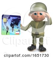 Army Soldier Holding A Credit Card And Saluting