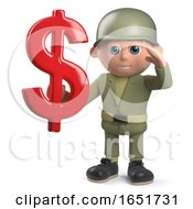 Army Soldier 3d Character Holding A US Dollar Currency Symbol by Steve Young