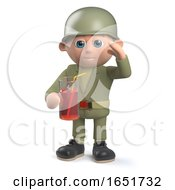 Army Sergeant Character Holding A Glass Of Juice And Saluting by Steve Young
