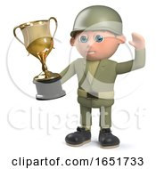 3d Army Soldier Character Holding A Gold Cup Trophy Award by Steve Young