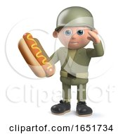 Hungry Army Soldier Character Holding A Hotdog And Saluting