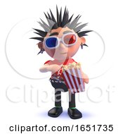 Punk Rocker Character Kid With 3d Glasses Eating Popcorn