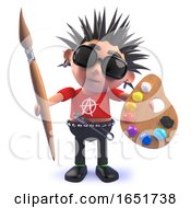 Punk Rocker Character In 3d Holding A Paintbrush And Palette With Paints by Steve Young