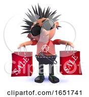 Punk Rock Kid In 3d Holding Sale Shopping Bags by Steve Young