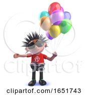 Punk Rock 3d Kid Holding A Bunch Of Colored Balloons by Steve Young