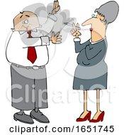 Cartoon White Business Man Waving Away Smoke From A Woman