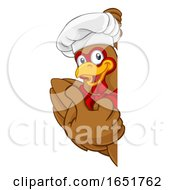 Poster, Art Print Of Chicken Chef Cartoon Rooster Cockerel Mascot Sign
