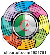 Circle Of Colorful Hands Around An Algerian Flag by Lal Perera
