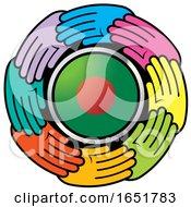 Poster, Art Print Of Circle Of Colorful Hands Around A Bangladeshi Flag