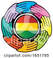 Circle Of Colorful Hands Around A Bolivian Flag by Lal Perera