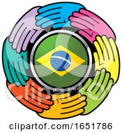 Circle Of Colorful Hands Around A Brazilian Flag
