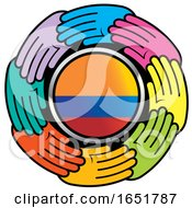 Poster, Art Print Of Circle Of Colorful Hands Around A Colombian Flag